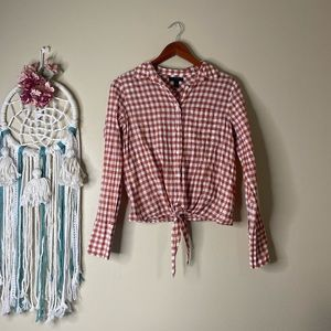 J.Crew Tie Front Gingham Button Down Shirt Size 2
